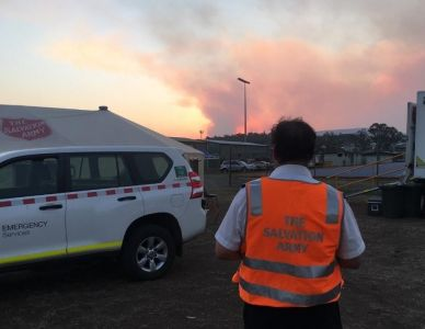 Salvation Army volunteer at bushfire location