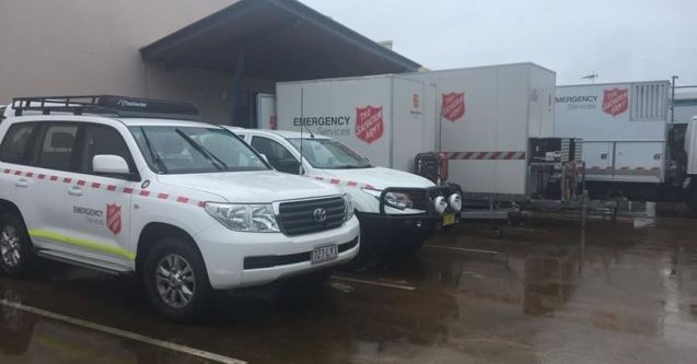 Salvation Army Emergency Services response teams are feeding hundreds of people and providing emotional support at three evacuation centres as rain continues to fall in Townsville.