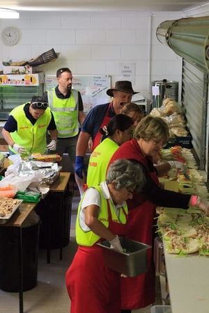Lunch preparation for hundreds of evacuees.