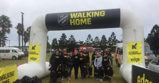 Walkers at the finish line