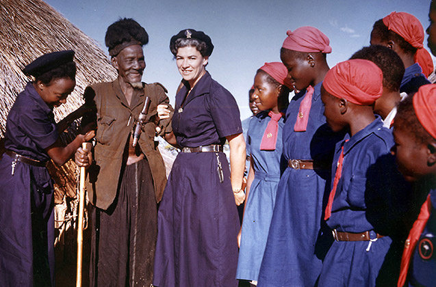 Eva Burrows meeting a witch doctor in Zimbabwe