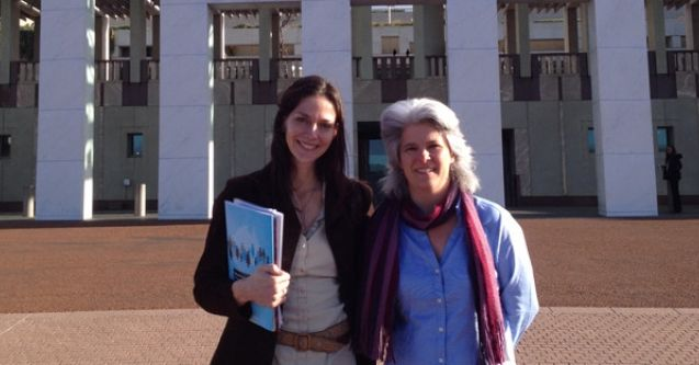 Heather Moore and Jenny Stanger in from of Parliament House, Canberra