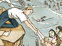 Illustration of a man helping people out of the water on a cliff face.