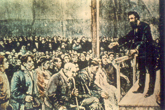 Illustration of William Booth preaching