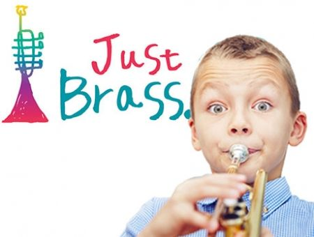 Just Brass logo and brass player