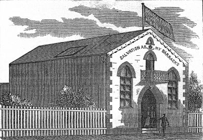 Line drawing of the original Newtown Citadel built by Edward Saunders