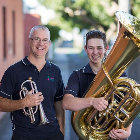 John Collinson with a young brass student