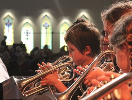 children performing Just Brass