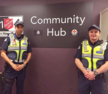 Police Officers outside the Community Hub