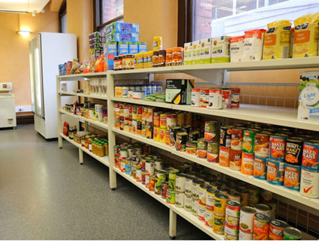 Shelves of food available