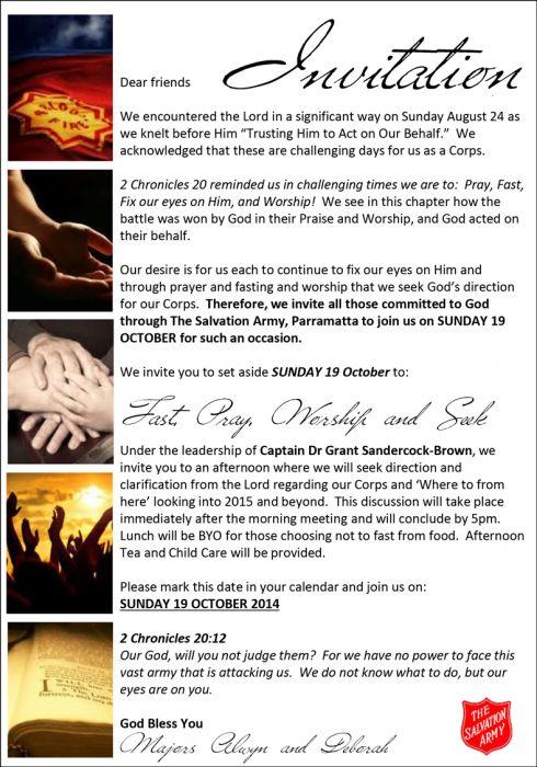 POSTPONED: Fast, Pray, Worship and Seek » Parramatta