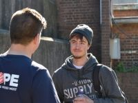 Salvos talking to a young guy