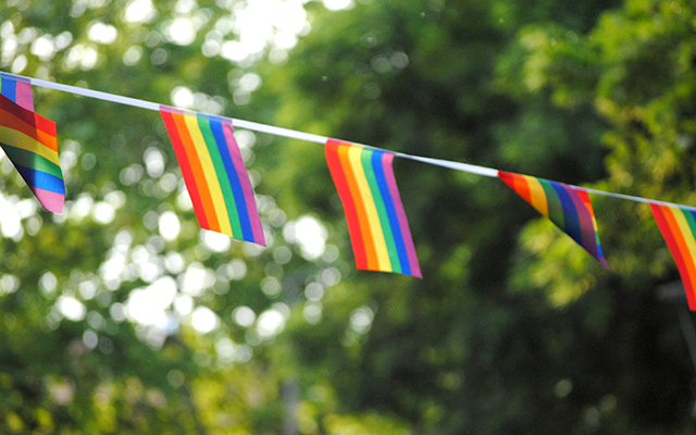 rainbow flags hung up as bunting