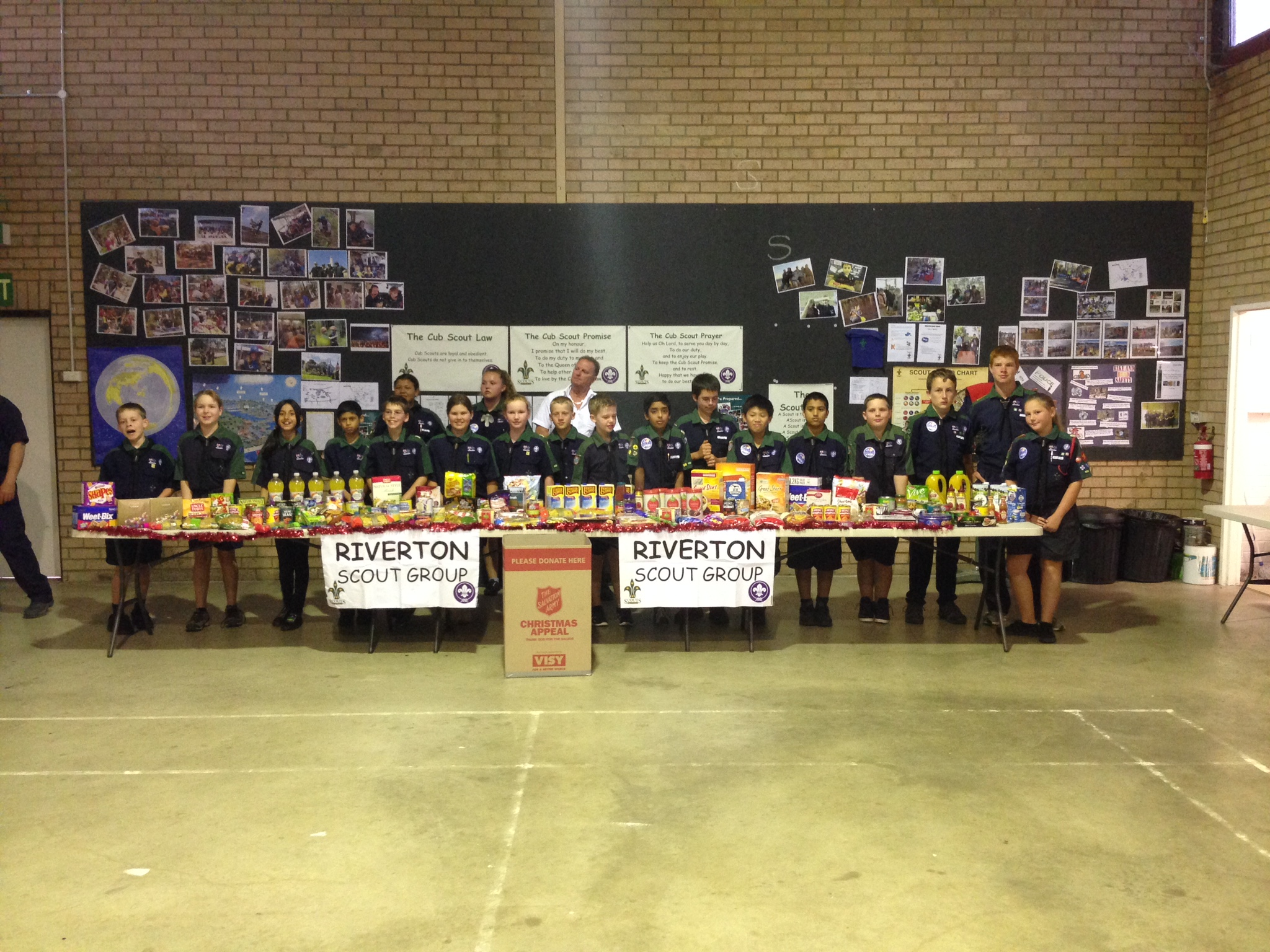 scouts pictured with donations