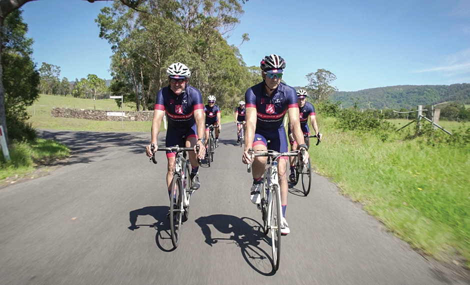 Cyclists riding for the Red Shield Ride